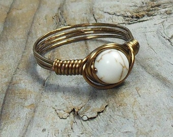 size 6 - White Howlite stone antique brass gold wire wrapped wrap ring - 6mm gemstone handmade - natural men women unisex jewelry