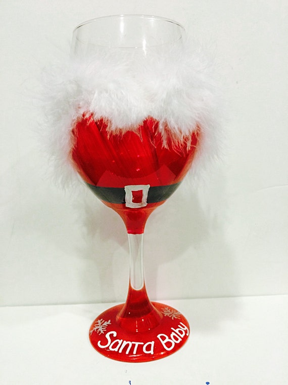 santa claus christmas wine glass santa baby holiday wine
