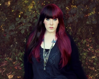 SALE Long Auburn wig | Red Brown Straight wig, Scene wig | Hipster, Indie, Emo, Cosplay wig | Harmony