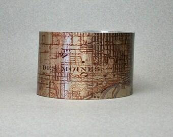 Des Moines Iowa Map Cuff Bracelet Wide Unique Hometown Gift for Men or Women