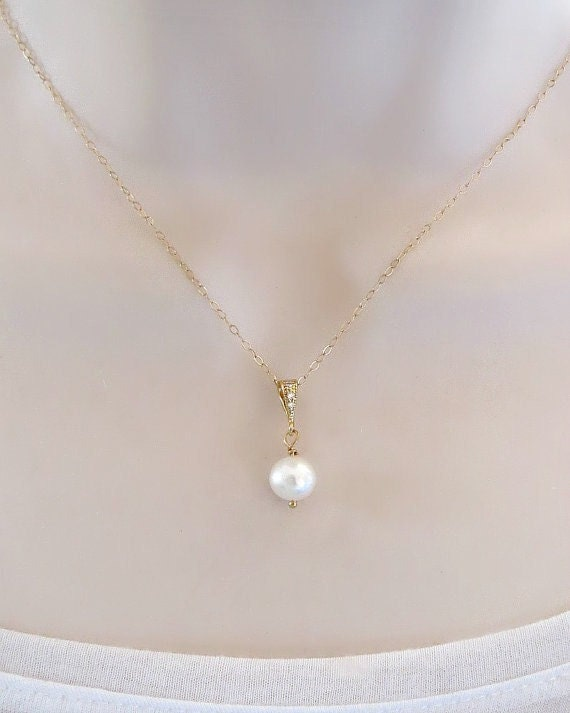 Single Pearl Necklace Swarovski Pearl Necklace Bridesmaid