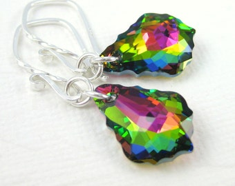 Swarovski crystal earrings, Pink green earrings, Victorian earrings,  Glass bead jewelry, Prism earrings, Christmas jewelry gift