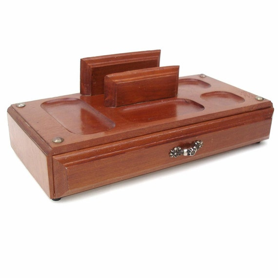 Vintage mens valet wooden dresser tray wood box by for Men s valet box