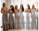 Bridesmaid Dress, Convertible Bridesmaids Dress - Grey Ombre effect ** Over 50 Colors **