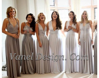 Grey Silver Bridesmaid Dress, One Dress Endless Styles Long Short INFINITY Bridesmaids Dress,  CONVERTIBLE Bridesmaids Dress, Grey Ombre eff