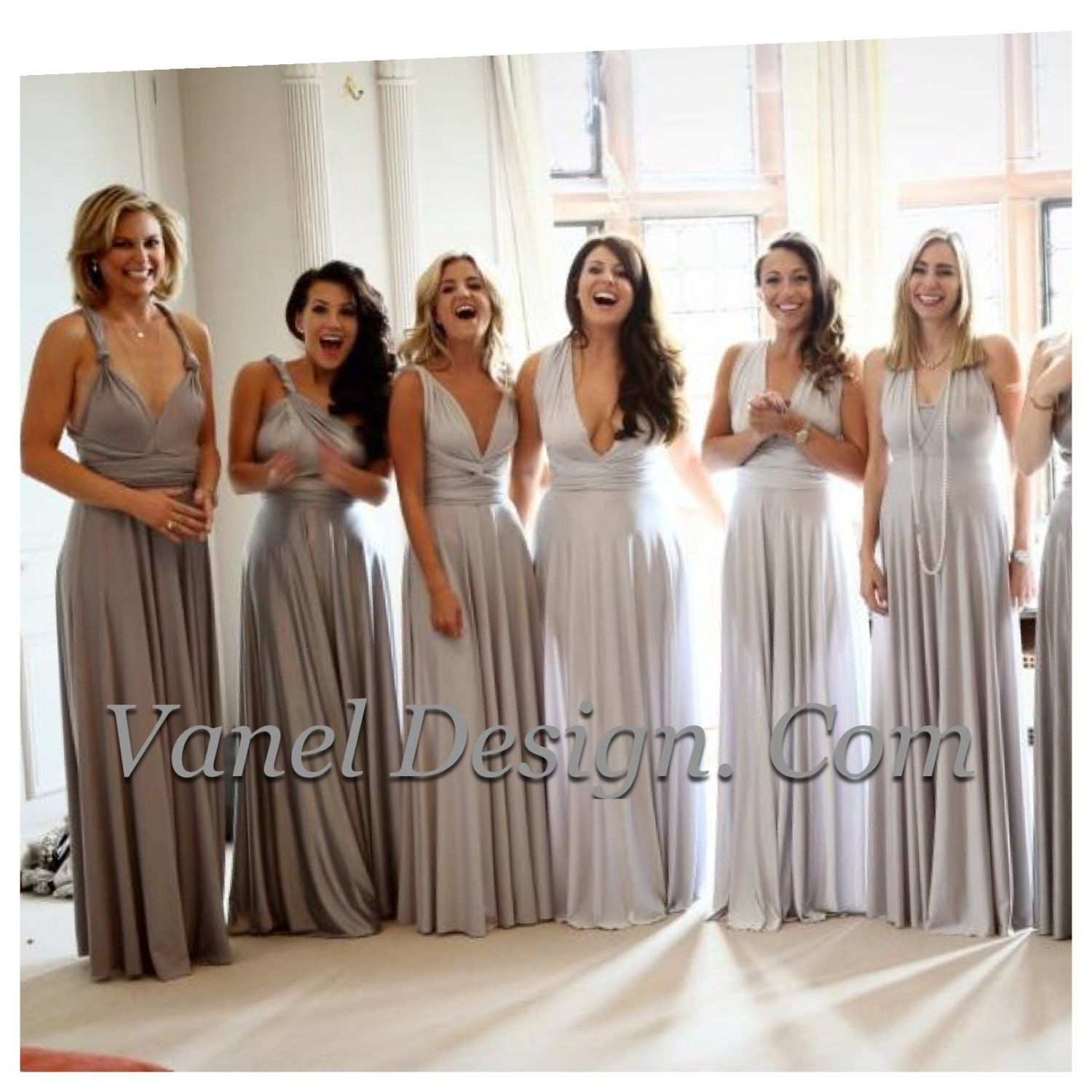 Grey silver bridesmaid dress short long one dress endless zoom ombrellifo Choice Image