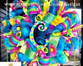 Turquoise Summer Wreath with letter of choice