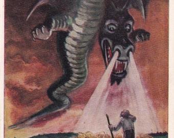 "Postcard Illustration by L. Kapitan for Ukrainian Tale ""Magic Egg"" - 1958"