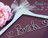 WEEKEND SALE Personalized Bridal Hanger, Name Hanger, Bridal Party, Fast Shipping with Heart Charm