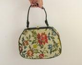 Sale On Reserve Floral Tapestry Handbag - Vintage 1960s Needlepoint Frame Purse