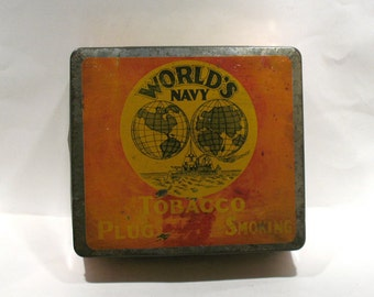 World's Navy Tobacco Tin - Rock City Tobacco Co-Quebec City, Canada - Tobacco Advertising Tin - Antique Canadian Tobacco Tin - Tobacciana