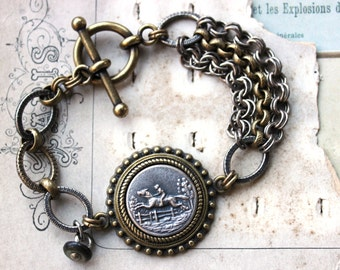 Horse Bracelet, Equestrian Jewelry, Horse and Rider, mixed link Toggle Bracelet, Silver and Gold, Assemblage Button Jewelry by veryDonna