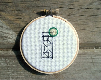 Gin & Tonic cross stitch -- completed mini cross stitch for your awesome home bar, probably