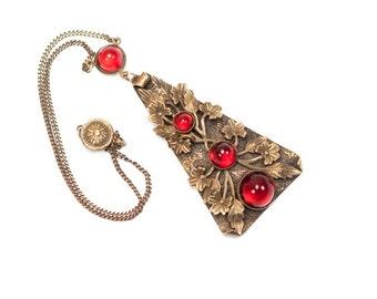 Art Deco Necklace Vintage Antique Nouveau Czech Ruby Red Gum Drop Glass Filigree Necklace