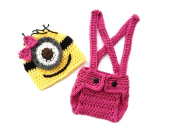 Girl Minion Set Despicable Me inspired Baby Outfit Hat Diaper Cover Set Baby -Photography Prop  0-3 mo 3-6, 6-9, 9-12 knit crochet