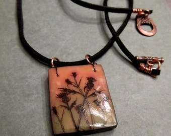 Thistles Art Pendant Polymer Clay Transfer Necklace Black Cord