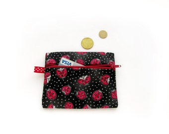 Black Zipper Coin Purse, Red Ladybugs Wallet, Business Card Holder, Zipper Card Case