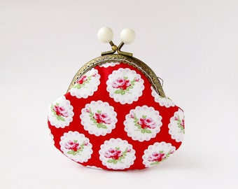 Red Coin Purse with Pink Roses and Hearts, Floral Purse, Valentines Day Gift