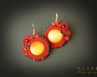 Red soutache earrings  Cat eye earrings Women accessory Women gift Red earrings Embroidered earrings