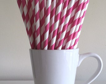 Dark Pink Striped Paper Straws Hot Pink Party Supplies Party Decor Bar Cart Cake Pop Sticks Mason Jar Straws  Party Graduation
