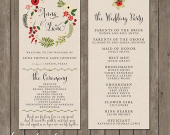 Printable Wedding Program - the Holiday Spirit Collection