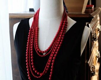 Multi Strand Statement Necklace Lipstick Red