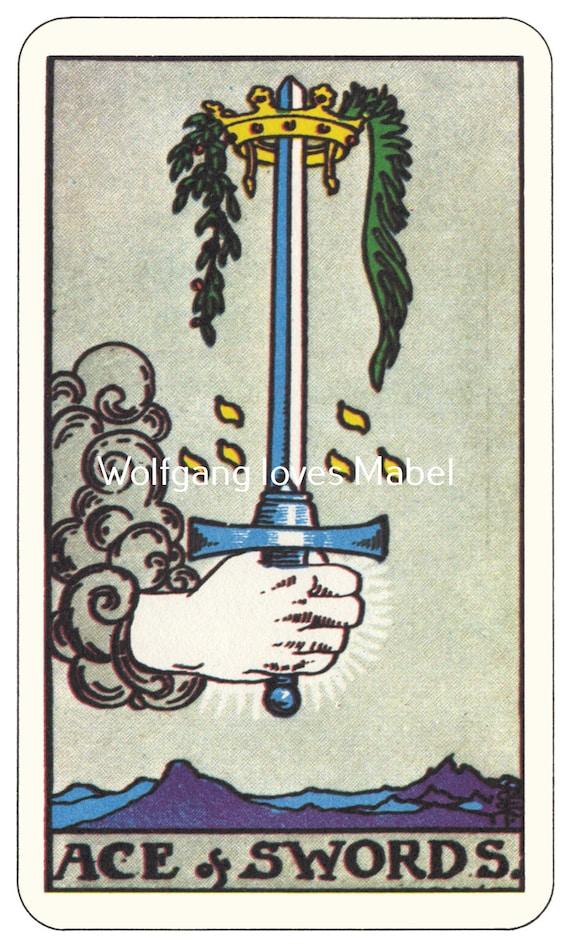 Ace Of Swords Rider Waite Smith Tarot Card By