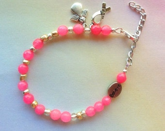 Pink Cancer Awareness Bracelets - Pink Power - Faceted Pink Agate Gemstone with Tibetan Silver Charms