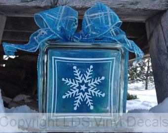 Snowflake - Frozen Inspired Winter Vinyl Lettering for Glass Blocks - Christmas Craft Decals