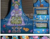 A Little Grey Hare, Painting with Friends Pattern inspired by Terrye French, Grey Rabbit, easter eggs, Blue, chicks, Flowers, Spring, fun