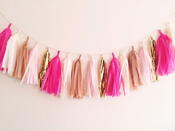 Items Similar To Pink Cream And Gold Tassel Garland