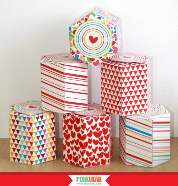 Favor Box Templates With Free Printable Gift Stickers   Gift Box Printable    Valentineu0027s Day Party   Party Favor Box (Instant Download) From  PixieBearParty ...  Gift Box Templates Free Download