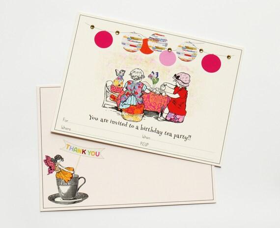 Digital Fairy Tea Party Invitation Set. Fill-In Invitations