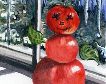 Snow Tomato Original Watercolor