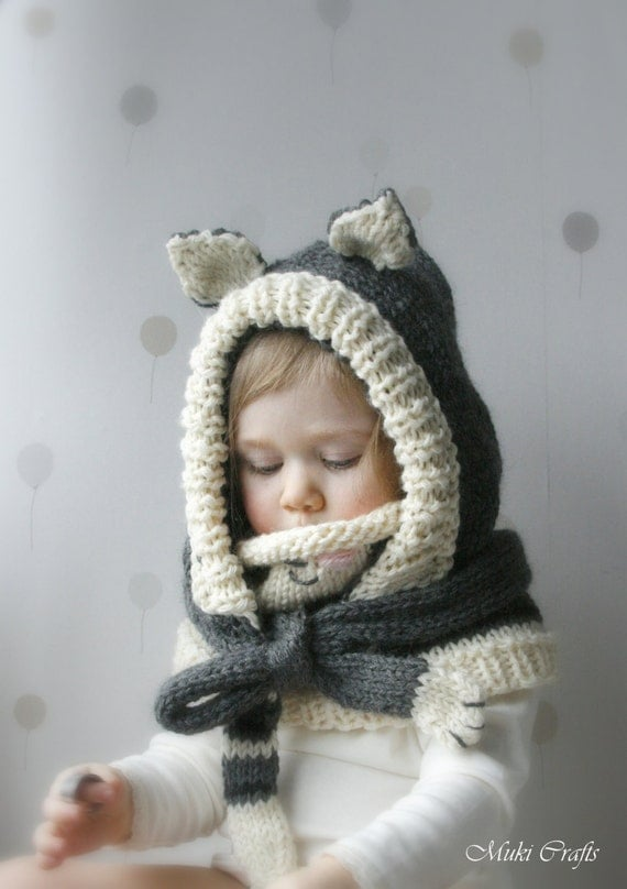 Knitted Cowl Pattern For Toddler : KNITTING PATTERN cat hood and cowl set Simba baby by MukiCrafts