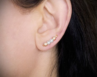 Gold Ear Sweep 24K gold plated Ear Climber White Pearls