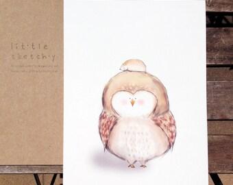 Owl. kids wall art. art print. nursery room art