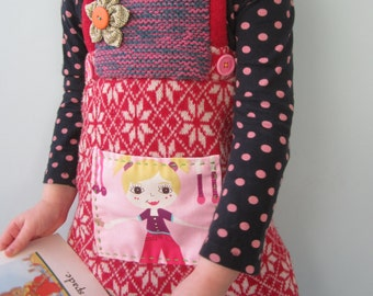 Vintage girls dress red toddler dress little girls dress 2-3T retro dress pinafore upcycled recycled repurposed knit dress snowflakes