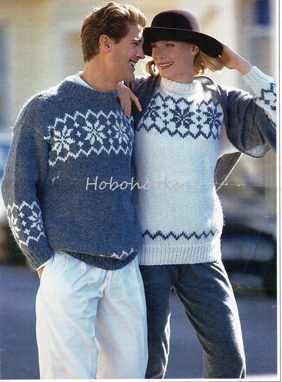 Old Fashioned Snowflake Jumper Knitting Pattern Collection Sewing
