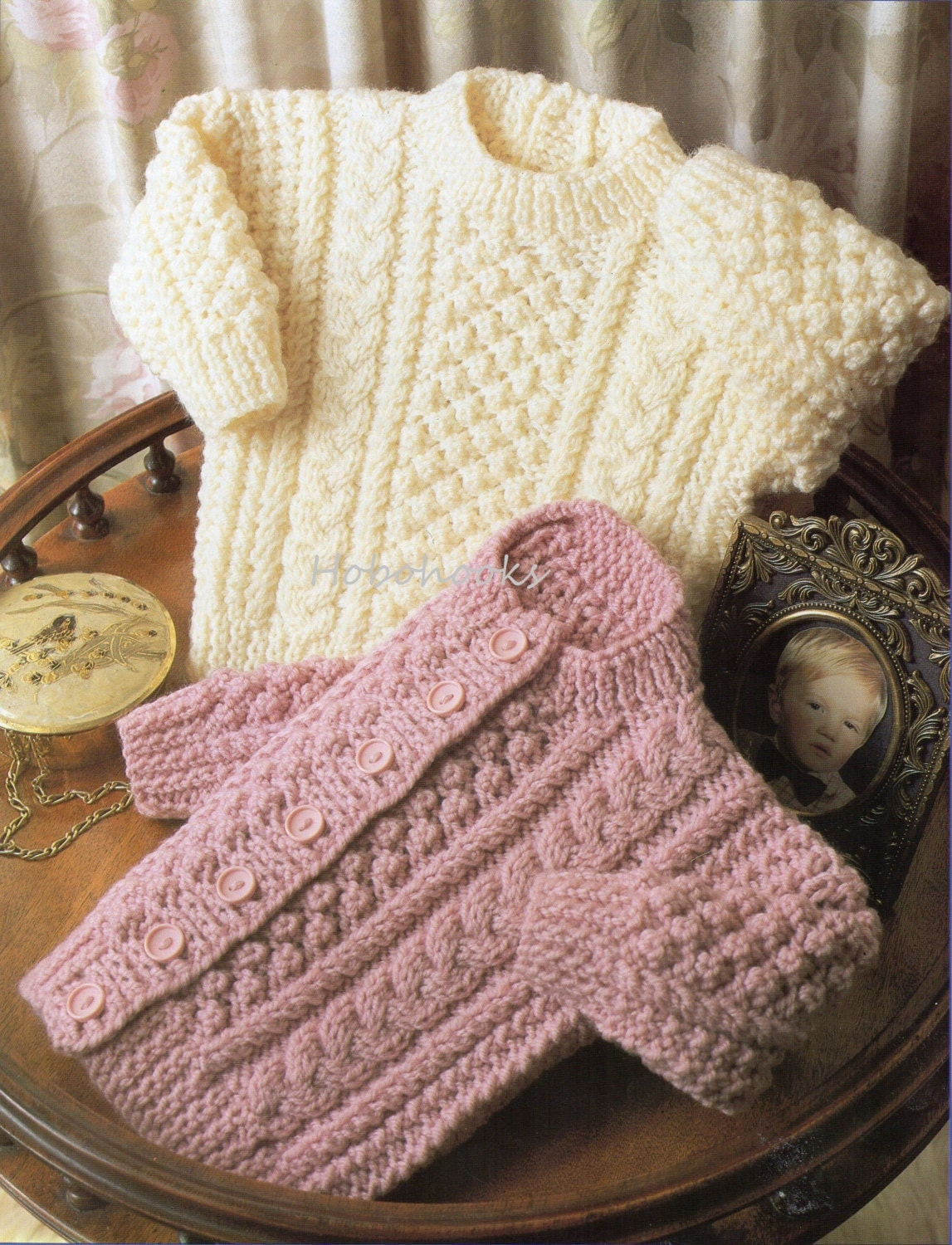 Childs Aran Jumper Knitting Pattern : Baby Knitting Pattern Baby Aran Sweater Baby Aran by Hobohooks