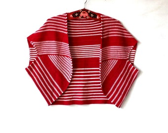 Women's Striped  Knitted  Red&Ivory  Bolero Vest M/L Size