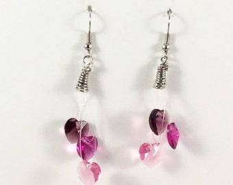 Customizable Crystal Heart Earrings, Heart Earrings, Swarovski Elements, Valentines Day Gift, Multi-color Earrings, Dangle, Bridal Jewelry