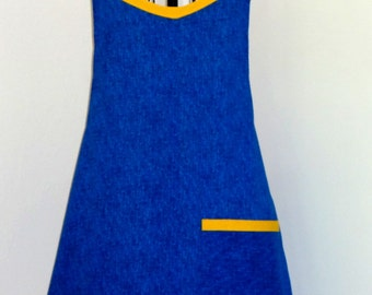 Blue and Gold Apron with Pocket