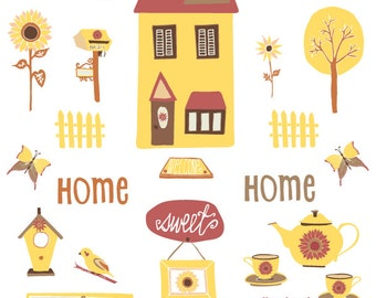 Home Sweet Home - Hand Drawn CLIP ART SET Digital Graphics - Personal License