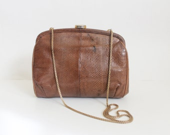 vintage 1970s snakeskin evening clutch • 70s brown envelope purse • petite italian leather purse