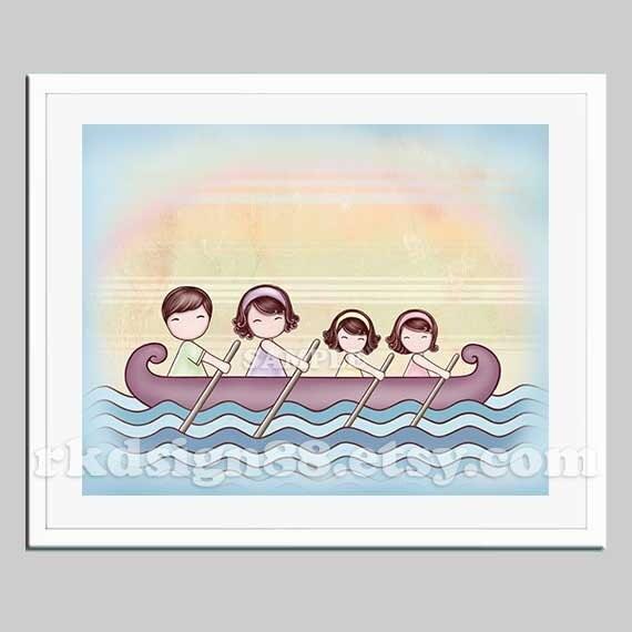 Nursery art girl, baby nursery decor, family portrait, children decor, dad, mom, sisters, boat, sea, ocean, brown hair - Stronger 8 x 10