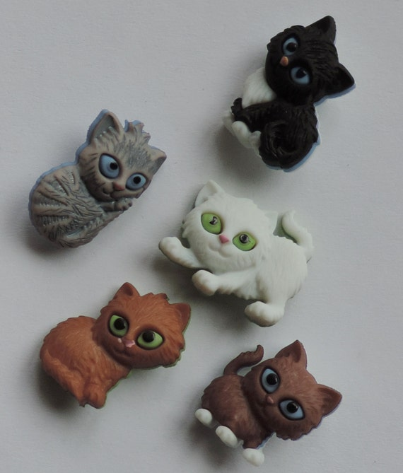 "Kitten Buttons, Packaged Novelty Button Assortment Pack, ""Kitten Kaboodle"" by Dress It Up Jesse James, Kitty Cat Buttons, Sewing, Crafting"
