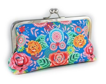 Blue floral clutch purse