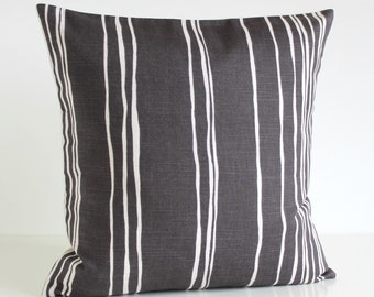 Pillow Cover, Premium Cushion Cover, 16x16 Pillow Cover, 16 Inch Pillow Cover, Pillow Sham, Pillow Case, Accent Pillows - Lines Charcoal
