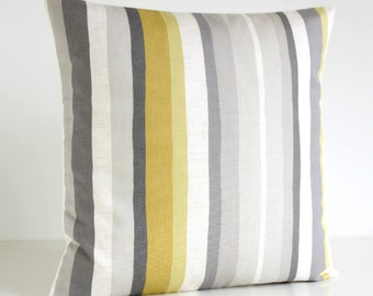 Stripe Pillow Cover, Accent Pillow, Yellow Cushion Cover, Mustard Pillow Sham, Throw Pillow Cover - Scandi Stripes Mustard